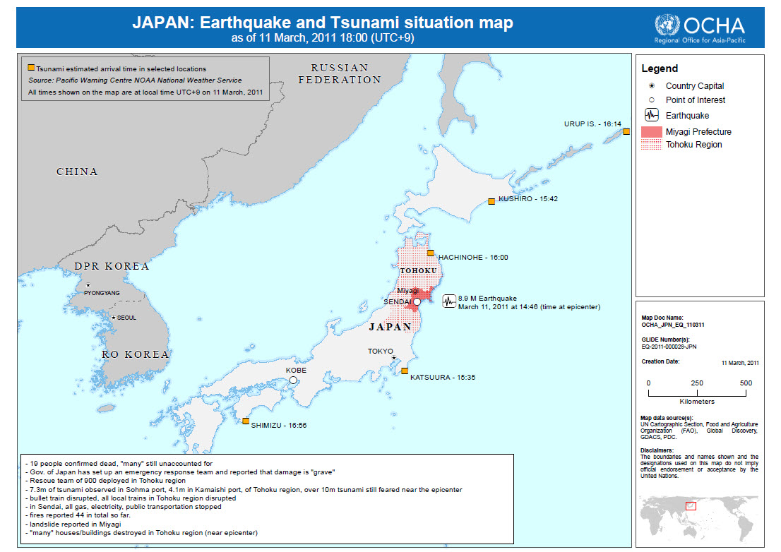 Biggest Quake In Japanese History Triggers Widespread Destruction - Japan 2011 map