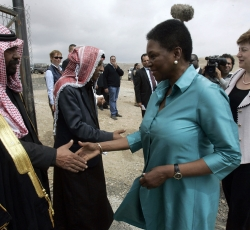 United Nations Under-Secretary General for Humanitarian Affairs and Emergency Relief Coordinator Valerie Amos, center, and European Commissioner for Cooperation and Humanitarian Aid Kristalina Georgieva, on the right, greet Palestinian Bedouins as they arrive for a visit to the Jahalin School in the Al-Jahalin Bedouin camp in the Israeli-occupied West Bank on 15 May 2011. Credit: European Union