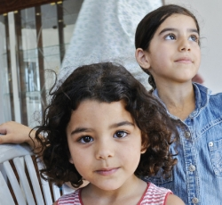 Two of the three children of the Taryaki family, whose house was was demolished in 2009. Their new home was rebuilt by the Israeli Committee Against House Demolitions (ICAHD). Credit: JC Tordai