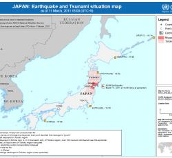 JAPAN: Earthquake and Tsunami situation map as of 11 March, 2011. Credit: OCHA/ReliefWeb