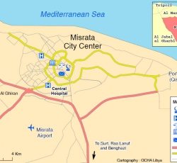 Map of City of Misrata. Credit: OCHA Libya Office