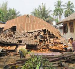 Damaged buildings in Tarlay. Credit: World Vision Myanmar