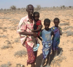 This family in Somalia has lost all their livestock to the drought. As the situation deteriorates, an estimated 2.5 million people are in need of aid. Credit: SCDO