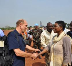 Valerie Amos greets the OCHA staff, as she arrives in Dungu, Orientale Province. Credit: OCHA/Charline Burton