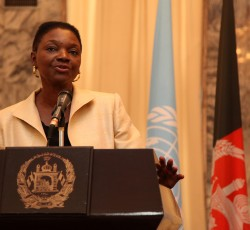 8 May 2012, Afghanistan: Humanitarian Chief Valerie Amos addresses the press in Kabul. Credit: UNAMA