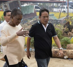 20 Nov, Philippines: UN Humanitarian Chief Valerie Amos in Roxas assessing the damage with local officials. Credit: OCHA