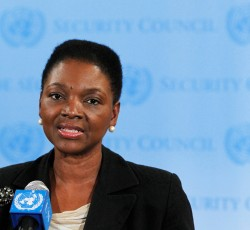 Undated, New York:  UN Humanitarian Chief, Valerie Amos, addresses journalists at UN headquarters in New York. Credit: UN