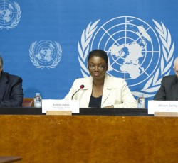 7 June 2013, Geneva, Switzerland: UN Humanitarian Chief Valerie Amos at the launch of the revised humanitarian appeal for Syria. Ms Amos is flanked by UN High Commissioner for Refugees Antonio Guterres (left) and the Director-General of IOM, William Lacy Swing. Credit: UN