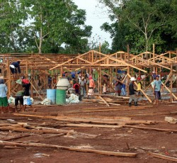 February 2012 - Cagayan de Oro, Northern Mindanao, the Philippines: The bunkhouses are being built as temporary shelters through cash-for-work programmes in Lumbia village. These are among the 1,300 shelters being built by the IOM in Cagayan de Oro and Iligan City. Credit: OCHA
