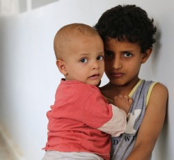 Sana'a: These little brothers had to flee their home in Saada, northern Yemen, because of the ongoing violence. Credit: OCHA/C.Cans/2015