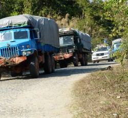 24 Feb 2014, Kachin, Myanmar: 11 trucks laden with supplies from the World Food Programme (WFP) and the UN Development Programme (UNDP) undertook the 100km route. They also carried aid workers from five UN agencies and two international NGOs. Credit: OCHA/Eva Modvig