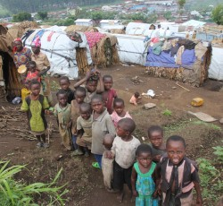 20 December 2012: Displaced children at La Poste IDP camp in Minova, South Kivu. Credit: OCHA/Gemma Cortes
