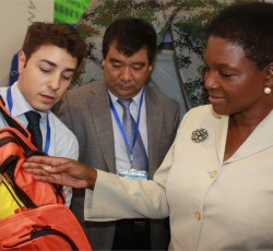 ERC Valerie Amos examines a six-day disaster preparedness kit at the 3rd Shanghai International Disaster Reduction and Security Exhibition 2011 on 12 October 2011. Credit: IRIN/David Swanson