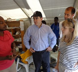 OCHA Operations Director John Ging visits a Cholera Treatment Center run by MSF in the Port-au-Prince metropolitan area on 20 May. Credit: OCHA
