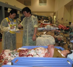Ishinomaki Japanese Red Cross hospital. The hospitals corridors are lined with beds. Most of the seriously ill are the elderly with hypothermia and respiratory infections. Credit: IFRC