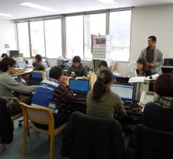 8 March 2012, Ishinomaki, Japan: Staff at the Disaster Recovery Assistance Council office in Ishinomaki coordinate recovery activities. The experiences of local governments in the wake of Japan's devastating earthquake, tsunami and nuclear disaster is the focus of one of the winners of OCHA's 2013 Research and Innovation Grant Programme. Credit: OCHA/Masaki Watabe