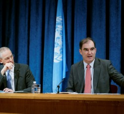 5 June 2013, New York: OCHA's John Ging (right) speaks at a UN press briefing following his visit to Afghanistan and Pakistan. Credit: OCHA/Paolo Palmero