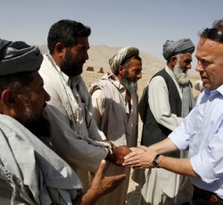 21 July 2011: UN Humanitarian Coordinator Michael Keating meets with local officials to assess the scale of a drought occurring in northeastern Afghanistan. CREDIT: UNAMA/ Fardin Waezi