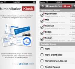The Humanitarian Kiosk (H.Kiosk) application provides a range of up-to-the-minute humanitarian related information from emergencies around the world.