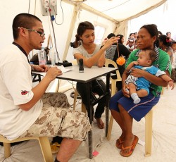2 Dec 2013, Leyte Province: The NGO Mercy Malaysia has set up a clinic alongside the Red Cross field hospital, providing basic medical care and helping rebuild damaged hospital buildings. OCHA's information management team ensures that all actors involved in the response to Typhoon Haiyan have the information they need to direct assistance where it is needed.