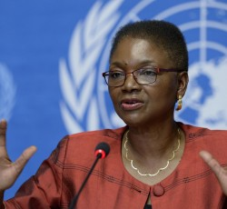 16 June 2014, Geneva, Switzerland: Humanitarian Chief Valerie Amos at a press conference at the UN in Geneva. Credit: UN Photo/Jean-Marc Ferre
