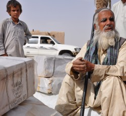 Muhammad Omer, 70, lost his two-roomed mud-brick home when an earthquake hit the border region of Pakistan and Iran in mid-April. Aid agencies have provided thousands of families with basic but critical assistance. Photo: Islamic Relief