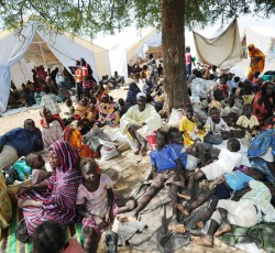 June 2011: People gather outside the UN peacekeeping mission's compound in Kadugli, South Kordofan after fleeing fighting that erupted in the town during the first week of June. Credit: UNMIS/Paul Banks