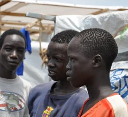 15 April 2014, Juba, South Sudan: Gambella Thut Deng and his brothers at the UN House - Protection of Civilians site. They lost contact with their family and are very concerned about what will happen to them. Credit: OCHA/Iramaku Vundru Wilfred