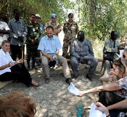 Resident and Humanitarian Coordinator Lise Grande with Norwegian Deputy Ministry for Foreign Affairs Torgeir Lasen in Pibor County, Jonglei State, South Sudan. Credit: UNMISS