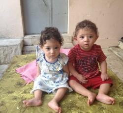 Hana's twins suffered complications during delivery but recovered with neonatal care, supported by OCHA's Syria Emergency Response Fund. They are now healthy. Credit: UNRWA