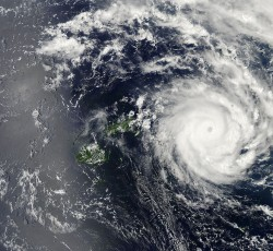Jan 2014, Ha'apai, Tonga: Severe Tropical Cyclone Ian - the most powerful storm ever recorded in Tongan waters - made landfall on 11 January. The Category 5 system brought winds of over 200 km per hour and hit the island groups of Vava'u and Ha'apai prompting the Prime Minister to declare a state of emergency. Credit: NASA