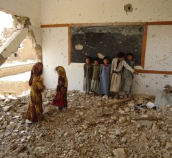 Armed groups often use traditionally safe places such as schools, hospitals, and mosques as targets or as operational bases. In northern Yemen over 170 schools were damaged or destroyed as a result of six rounds of conflict in Sa'ada. Credit: OCHA