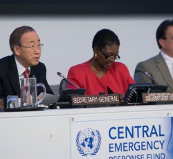 11 December 2012: UN Secretary-General Ban Ki-moon, UN Humanitarian Chief Valerie Amos and Regional Humanitarian Coordinator for the Sahel David Gressly at the CERF High-level pledging conference. Credit: OCHA/Paolo Palmero