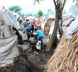 November 2012: Children in the Lac Vert IDP site near Goma, North Kivu. The site became home to around 30,000 IDPs following fighting between the M23 and the Congolese army that month.  Credit: OCHA/Imane Gana Cherif