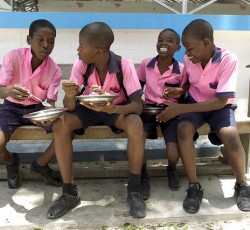 The World Food Program's school feeding programs provide meals to over 680,000 children everyday. The meals help children learn better and encourage them to come to school. Credit: MINISTAH/Logan Abassi