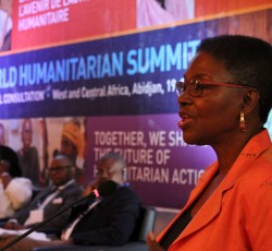 19 June 2014, Abidjan, Cote d'Ivoire: USG Valerie Amos at the opening of the two-day WHS Regional Consultation. Credit: OCHA/Ivo Brandau