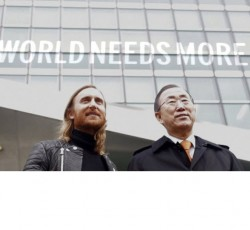 UN Secretary-General Ban Ki-moon and international music star David Guetta. Credit: OCHA