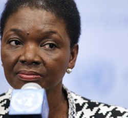 3 December 2013, New York: UN Humanitarian Chief Valerie Amos talks to the media following her meeting with the Security Council on Syria. Credit: UN Photo